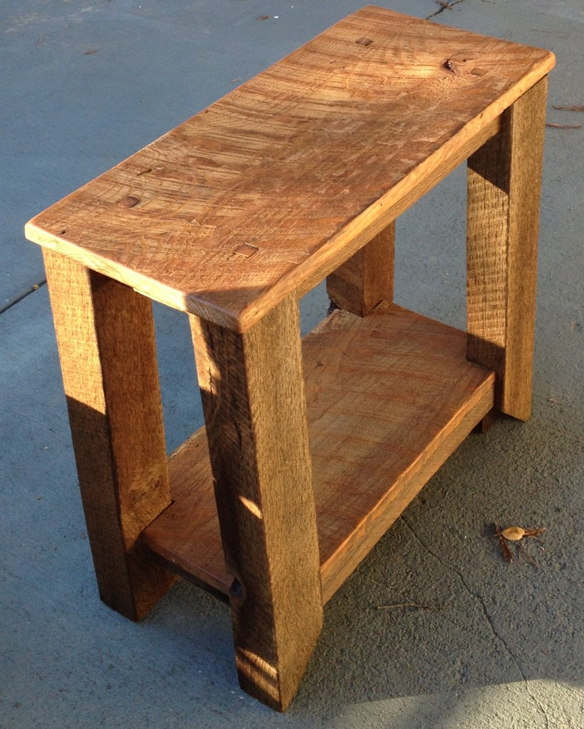 Reclaimed White Oak, hand planed, oiled natural finish.www.thecoastalcraftsman.com