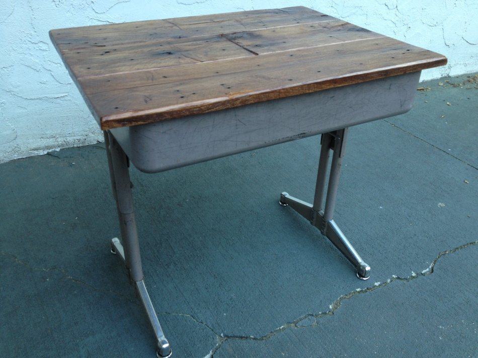 Top:  Reclaimed Shipping PalletBottom:  Metal Parochial School Desk