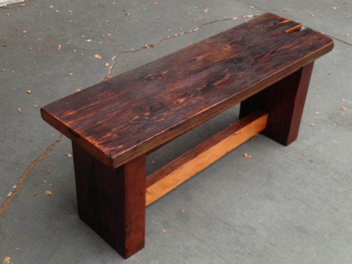 Reclaimed douglas fir bench the coastal craftsman