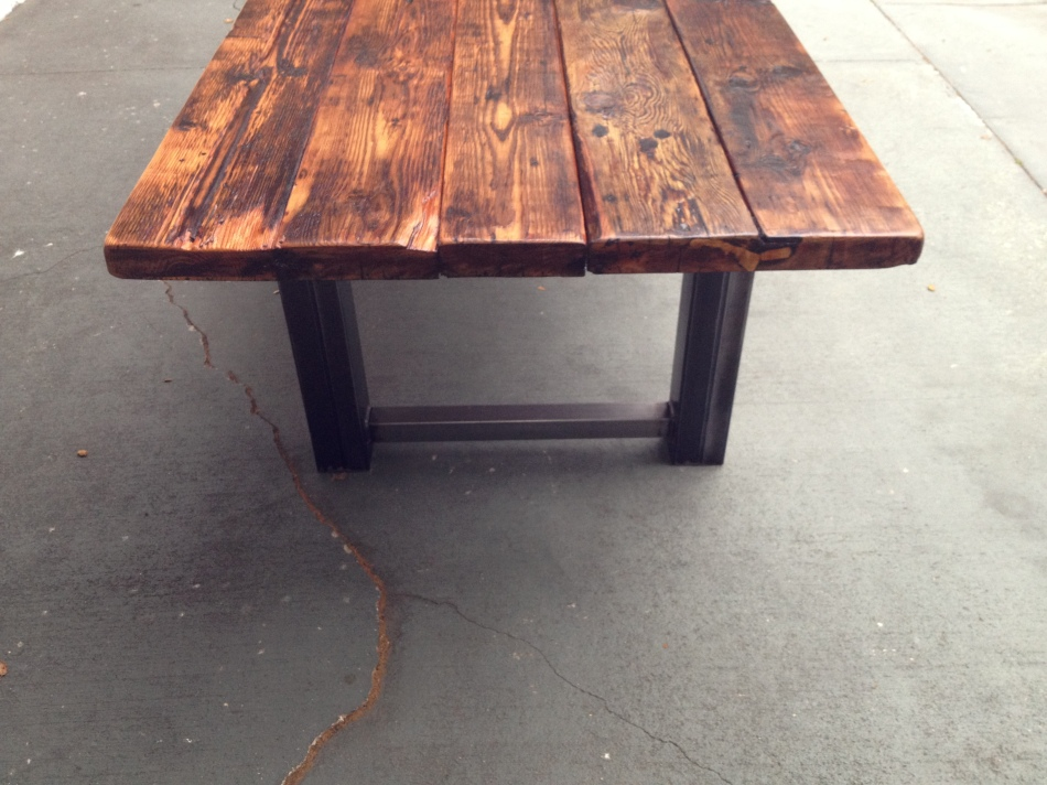 Custom reclaimed wood and metal dining table the coastal for Reclaimed wood and metal table