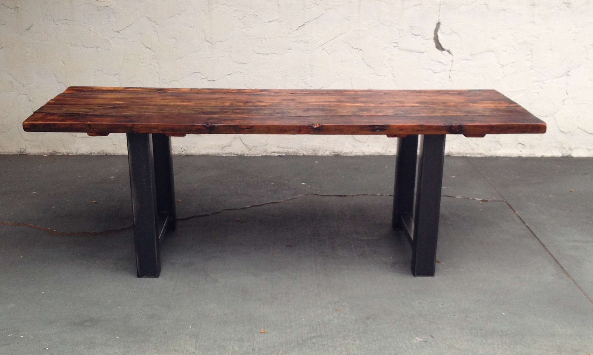 Reclaimed wood and steel dining table the coastal craftsman for Dinner table wood