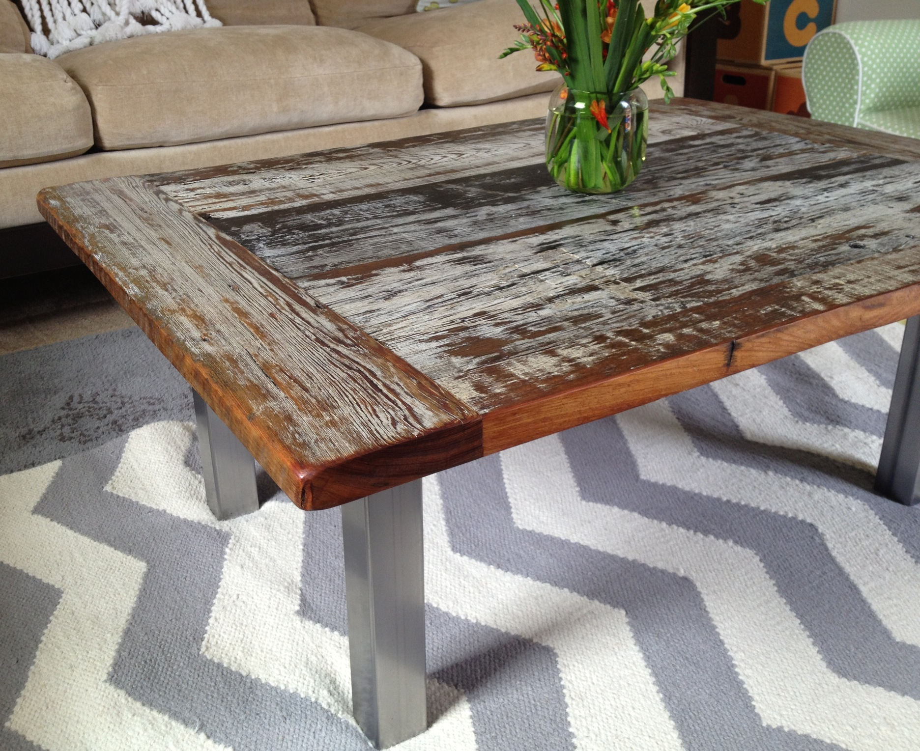 Coffee Table Made Of Cypress Reclaimed From A Dock In The Southern United  States.