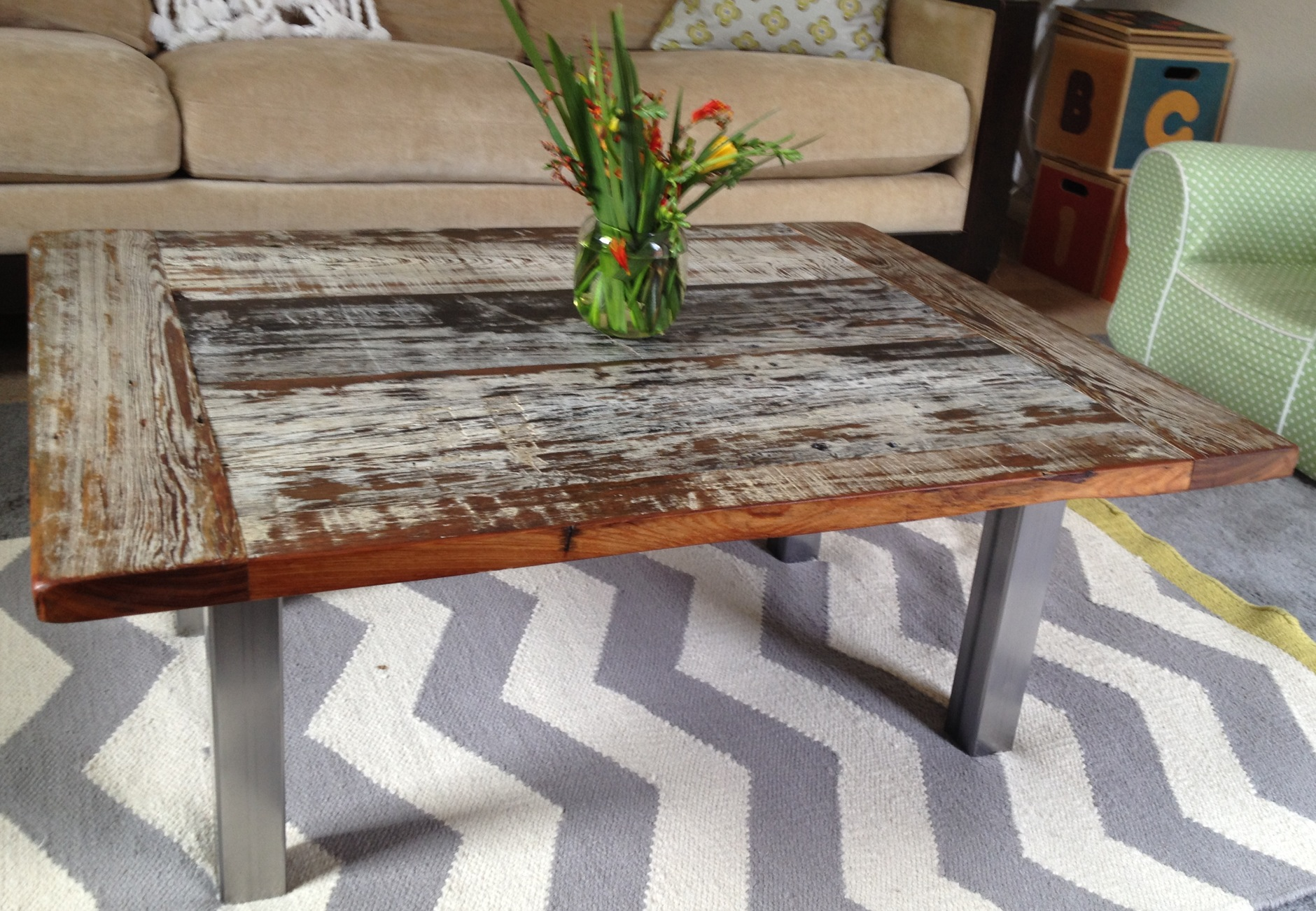 Reclaimed Wood And Steel Coffee Tables. Reclaimed Cypress Coffee Tabe 2