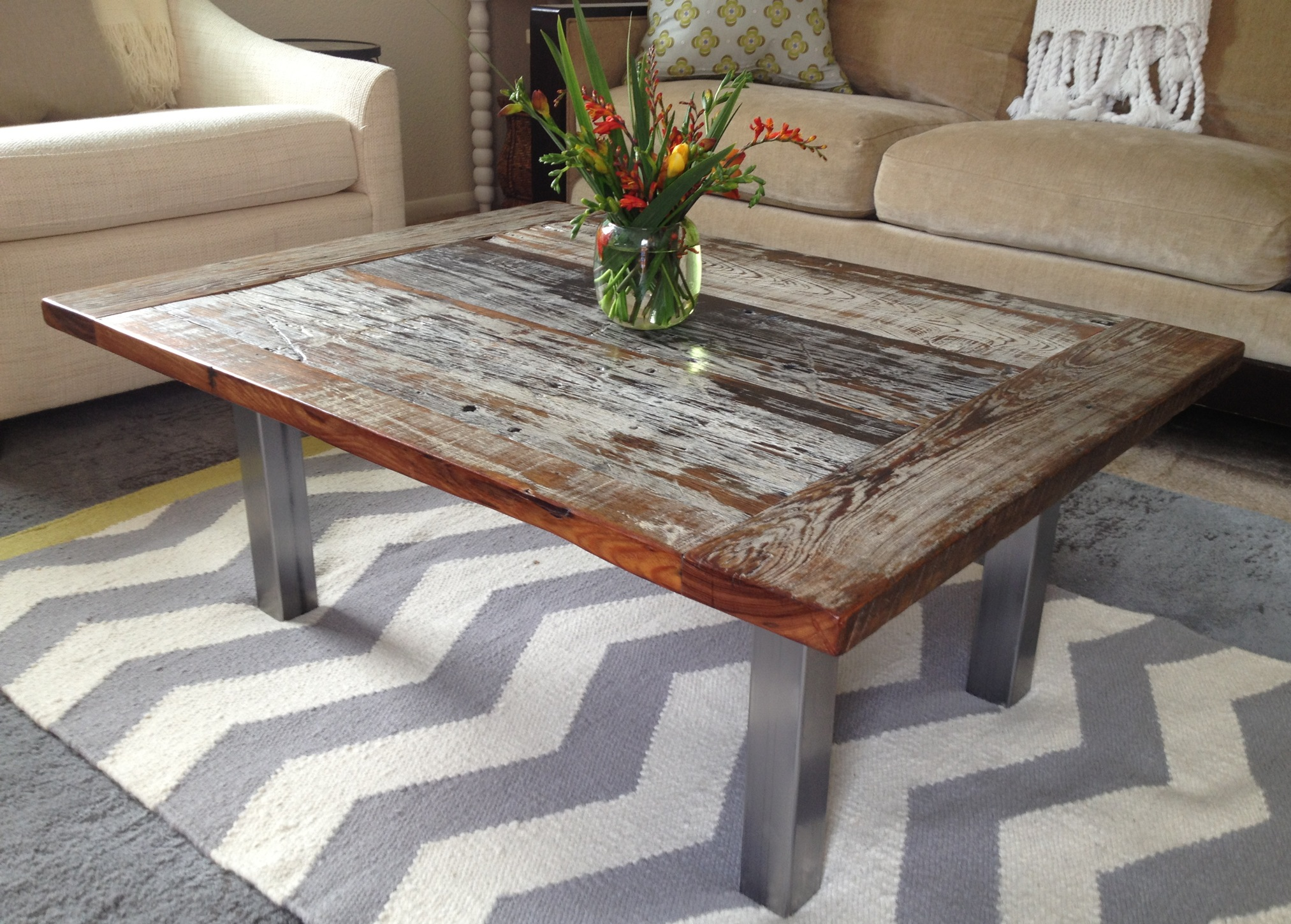 Reclaimed Cypress Coffee Tabe 3 & Repurposed Wood | The Coastal Craftsman