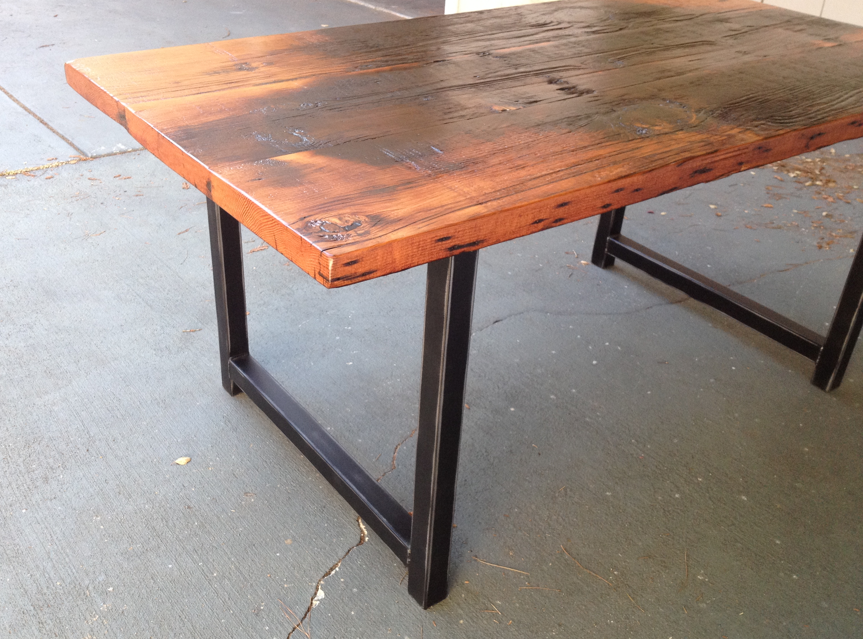 Custom Reclaimed Wood And Metal Dining Table The Coastal Craftsman