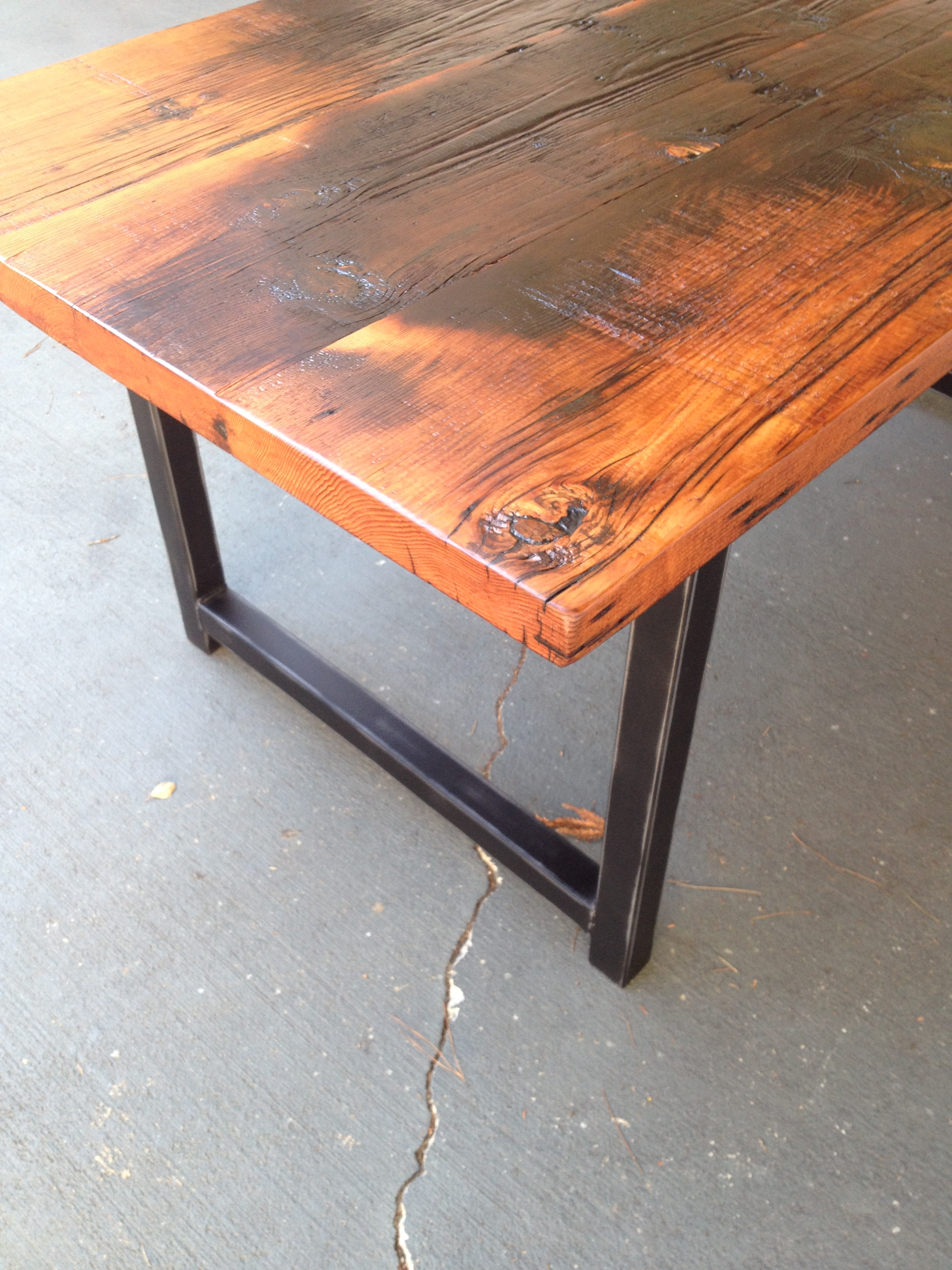 Custom Reclaimed Wood And Metal Dining Table Thecoastalcraftsman