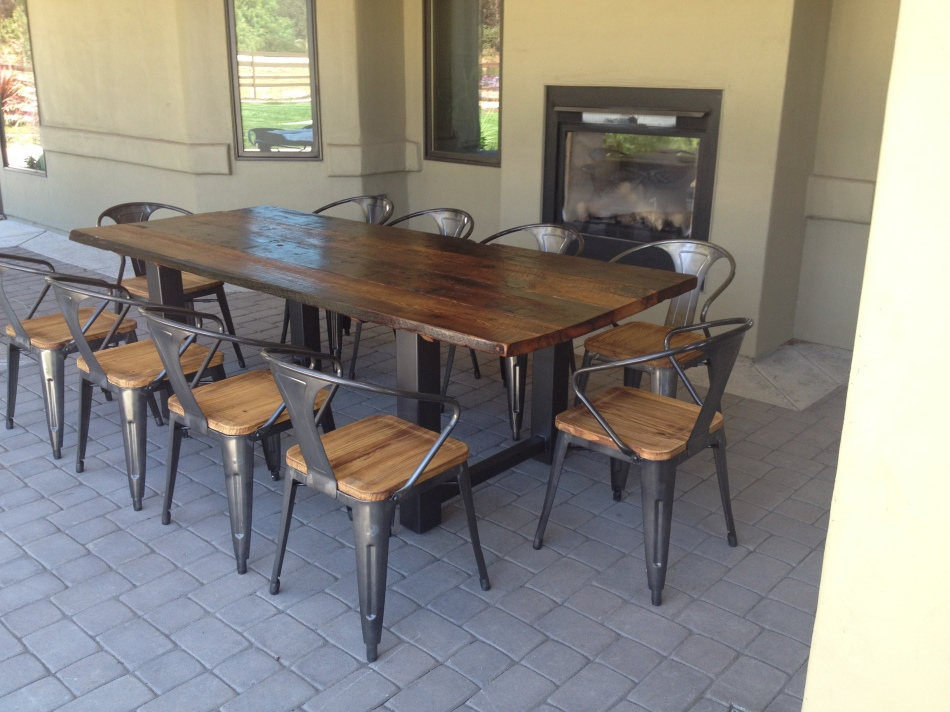 Reclaimed Wood and Steel Outdoor Dining Table 1. Douglas Fir reclaimed from  a Wisconsin Barn is combined with steel to create a large outdoor - Reclaimed Wood And Steel Outdoor Dining Table The Coastal Craftsman