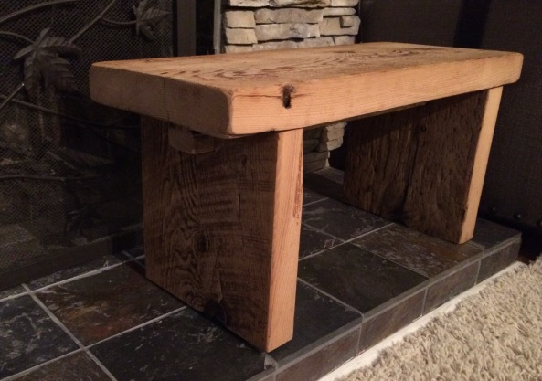 Wood reclaimed from an 87 year old barn in Upper Wisconsin. Simple craftsman style.