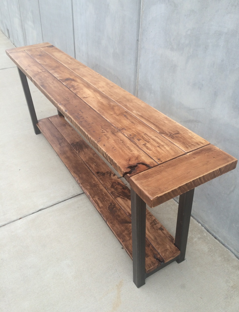 Maple and Steel Long Table J006