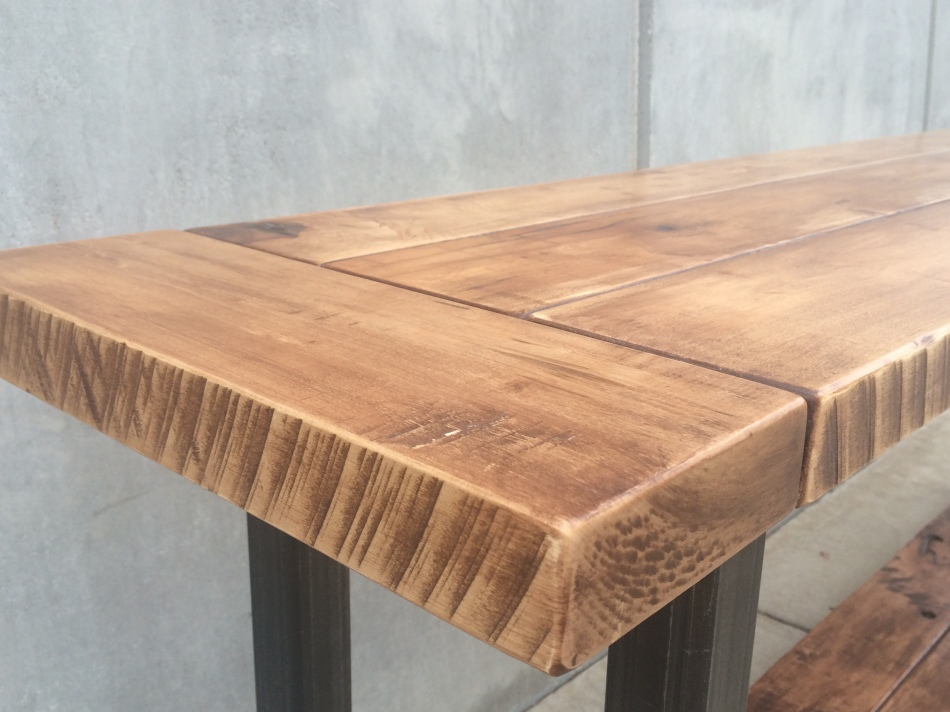 Maple and Steel Long Table J007
