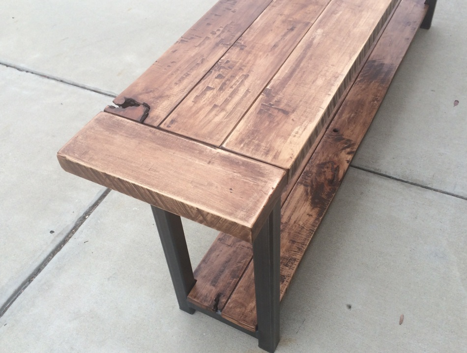 Maple and Steel Long Table J009