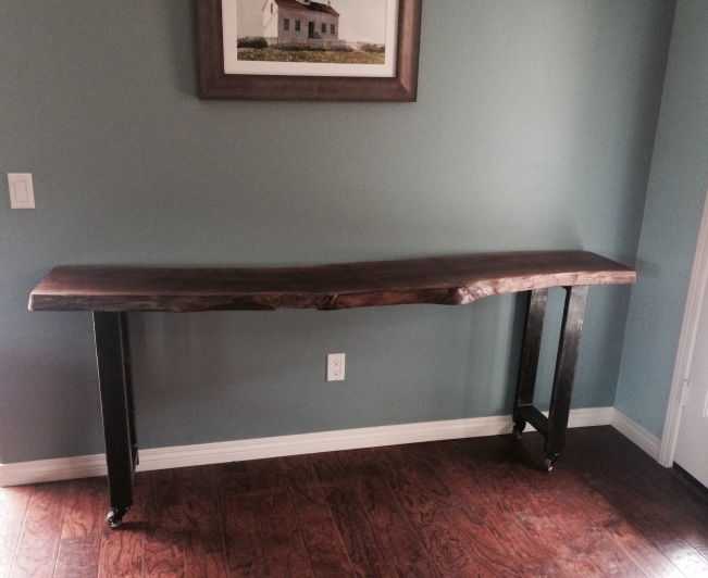 Walnut Slab and Steel Long Table