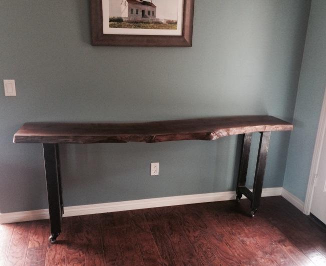 Walnut Slab and Steel Long Table