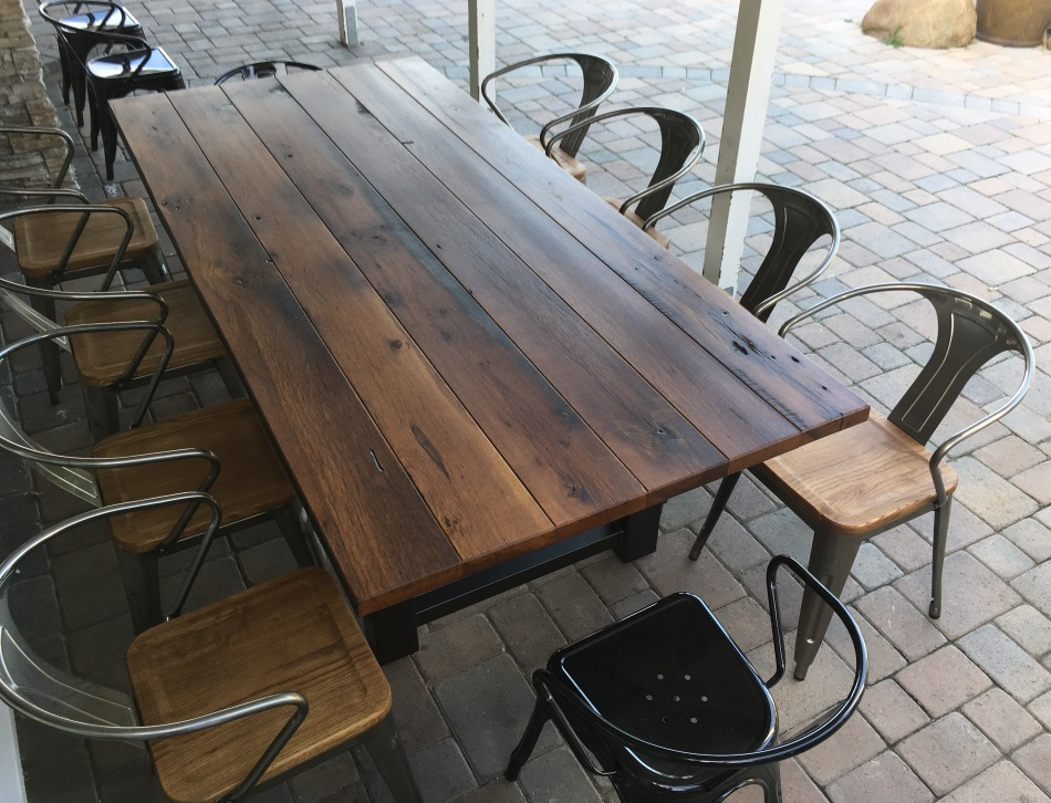 reclaimed wood outdoor dining table patio lexie001reclaimedwoodandsteeldiningtabe reclaimed wood and steel outdoor dining table the coastal craftsman