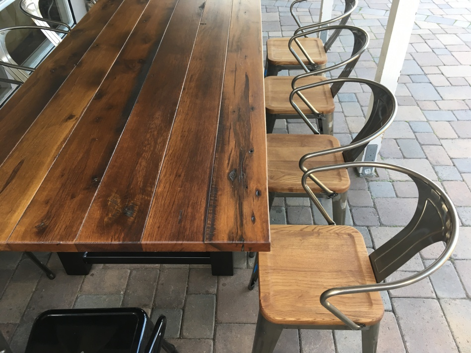 lexie-001-reclaimed-wood-and-steel-dining-tabe- - Reclaimed Wood And Steel Outdoor Dining Table The Coastal Craftsman